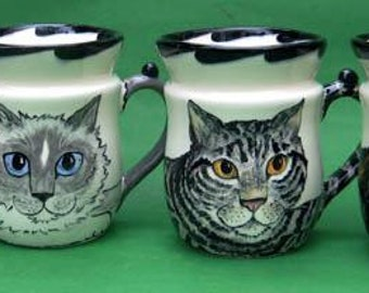 Portrait Cat Cups by Nina Lyman of Cats By Nina
