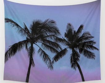 Tapestry, Wall Hanging, Nature Tapestry, Palm Trees, Blue, Purple, 3 Sizes