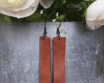 Plain Jane: Simple Leather Drop Earrings