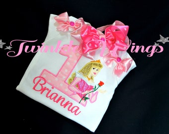Princess Aurora inspired Sleeping Beauty 1st 2nd 3rd 4th 5th 6th Birthday Party Red Outfit Personalized T shirt Onesie  Size 12M 24M 2T 3T
