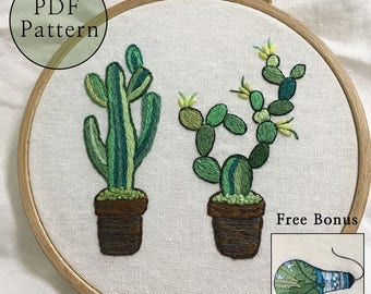 TwoTallCactus_Cacti_Embroidery Pattern ForBeginners(3 Basicstitches needed)__PDFfiles_+Reversed Pattern_Hand Embroidery_BonusFreePattern