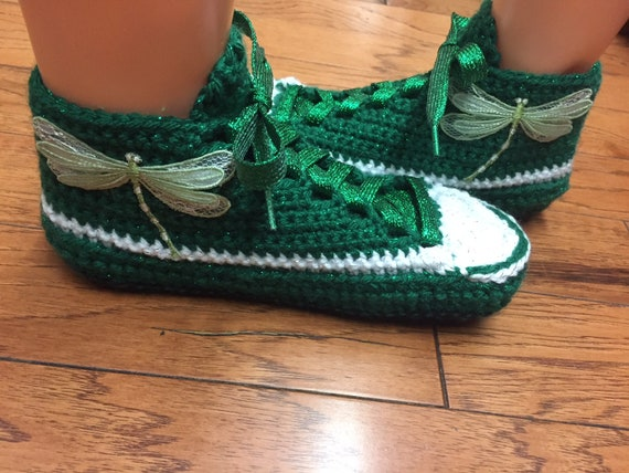 Crocheted shoes dragonfly dragonfly shoes slippers 10 crocheted sneaker slippers green sneakers Womens 8 tennis 360 Listing tennis slippers r58Uqrw