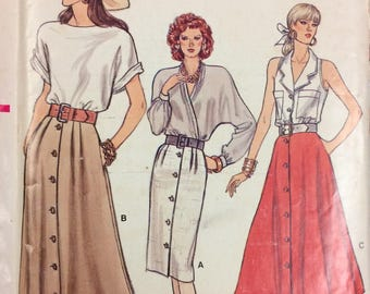 Skirts Uncut Vogue 9946 Misses' Skirts Vintage 1980's Sewing Pattern  Size 8 -12 Complete Uncut FF