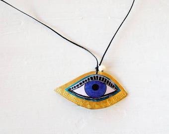 Long Necklace, Greek Meander Evil Eye Necklace, big eye necklace