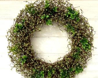 St Patricks Day Wreath-St Patricks Decor-Spring Wreath-Large WREATH-Wreath for March-Large Grapevine Wreath-Berry Wreaths-Housewarming Gifts