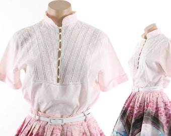 Vintage 50s Pink Cotton Blouse Short Sleeved Top Lace Buttons Womens Spring Summer Fashion 1950s 1960s Medium M Pinup Blouse