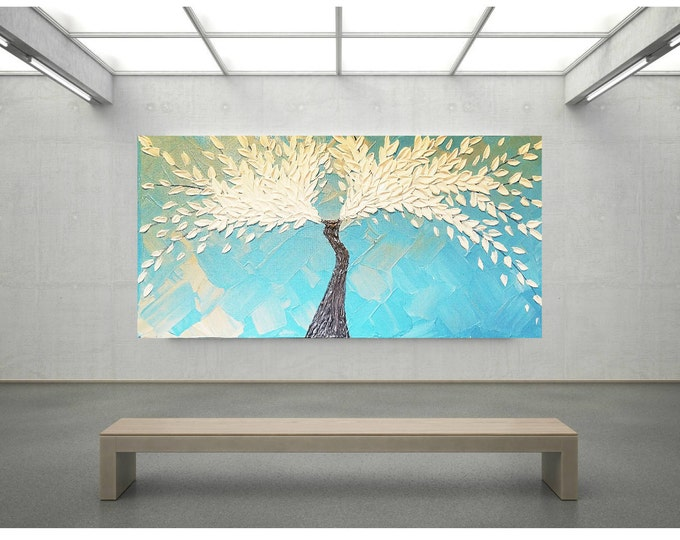 Angel Wings of Ice, Impasto Acrylic Painting Palette Knife Brush White and Blue Tree of Life Large stretched canvas