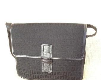 15% SUMMER SALE Vintage FENDI sas signature fabric and leather accordion shoulder bag front flap