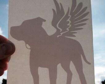 i am pitbull strong vinyl WINGED PITBULL sticker 5.75x4.25