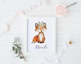 Woodland Baby Shower, Woodland Nursery Prints, Fox Nursery Decor, Forest Animal Baby Shower, Fox Printable, Boho Nursery Decor