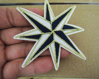 Star Patches Dark and white with golden edges Stars patch Applique embroidered patch Large Iron On Patch Sew On Patch