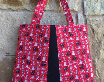 Red Kitty Cat Tote Bag / Handbag