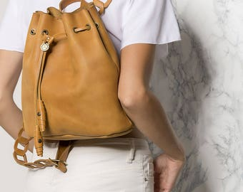 Small Leather backpack, Brown leather satchel, Women leather backpack in two sizes. Thetis design. NEW