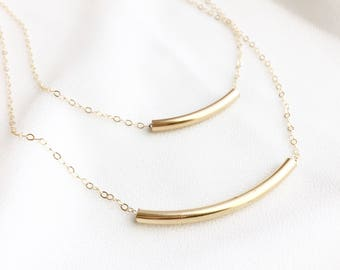 Bar Layered Necklace - 14K Gold Filled Curved Bar Layered Necklace - Modern Jewelry - All Gold Filled - Everyday Wear - Minimalist Jewelry