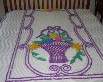 Purple basket of flowers VINtage chENILLE BEDSPREAD