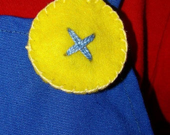 Super Mario Brothers-4 Yellow Felt  Buttons -  Mario & Luigi - Halloween-Dress Up