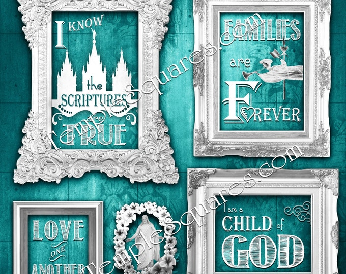 I Know the Scriptures Are True Primary 2016 theme DIY Printable poster or card sizes Digital collage temple subway grunge chalkboard