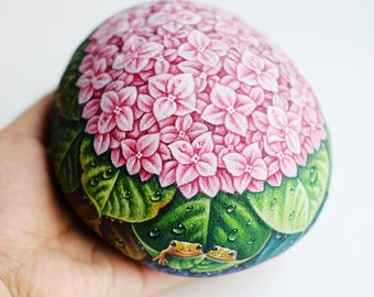 Pink Hydrangea Flower stone painting, Original painting, Rock art, Unique, Acrylic colours, Special gift for special one.