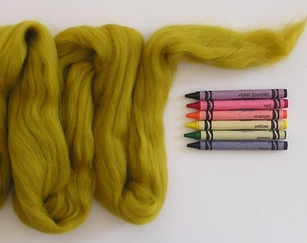 MERINO WOOL ROVING / Mustard 1 ounce / merino wool tops / wool for weaving / tapestry / spinning / needle felt / doll hair / dreads