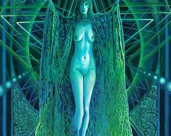 Invocation of the Goddess Lilith ACEO ATC Altar Art Mini Fine Art Print Pagan Mythology Gypsy Witch Goddess Art