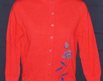 1950s Angora Blend Cardigan Sweater Sz S Floral Print Vintage Retro Pinup