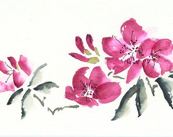 Azaleas Giclee Print From Original Watercolor, Pink Flowers Wall Art Print, Pink And Gray Flowers
