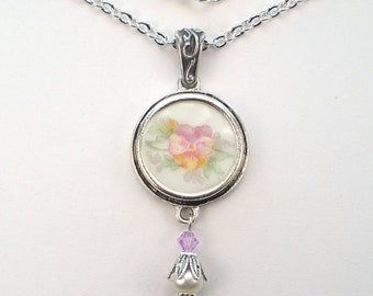 Broken China Necklace Pansy Flower Pendant Vintage Charm Porcelain Jewelry by Charmedware