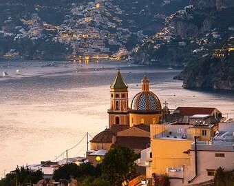 Positano Dusk, Amalfi Coast, Italy, Night, Mediterranean Sea, Romantic, Boats, Campania - Travel Photography, Print, Wall Art