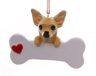 Chihuhua Personalized Christmas Ornament, Ornament, Chihuahua, Personalized, Dog Ornament, Personalized Dog Ornament