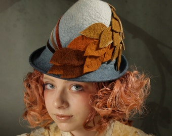 Victorian Perch Hat in Verdigris Ombre With Orange Leaves and Velvet Ribbon - Victorian Perch - Tyrolean Hat - Hat With Leaves - Ombre Hat