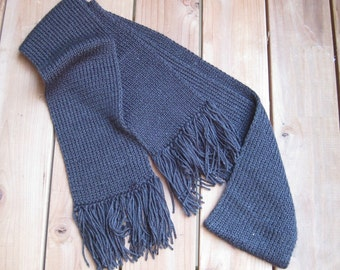 Long charcoal gray knit  scarf