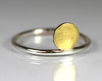 Thin Sunset/Sunrise Ring, Sterling Silver, Mixed Metal, Gold Brass Ring, Gift Ideas, Statement Ring, Stacking Stackable Ring, Simple, Modern