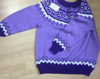 Purple knitted handmade sweatshirt