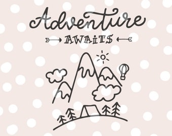 Adventure Await SVG Cutting File _ Hand Lettered