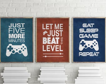 Set of 3 Video Game Graphic Art Typography Prints 8x10 , 11x14 Matted Options