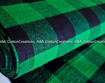 "Mammoth Flannel Fabric, 16943-7 GREEN Large Plaid Flannel, 2"" Plaid, Apparel fabric, Fabric by Yards, Robert Kaufman Fabrics"