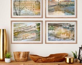 Set of 4 prints Living room decor City art photography Oversized artwork St Petersburg European Travel posters Watercolor large wall art set