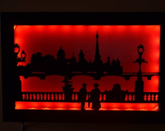 Decorative table light wood with a view of Paris