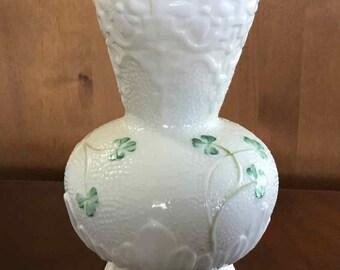 Vintage Belleck Porcelain Vase with Shamrocks - Made in Ireland - 1981 to 1992