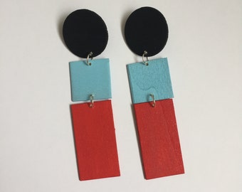 Black, Sky Blue, and Red Color Block Geometric Earrings, Statement Earrings, Chunky Earrings