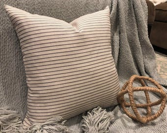 Charcoal & Cream Ticking Stripe Pillow Cover