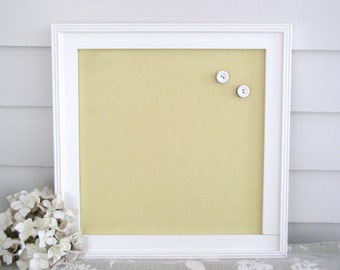Magnetic Memo Message Board - Cottage Yellow Linen Bulletin Board - 14.5 x 14.5 Handmade Wood Frame with Vintage Button Magnets