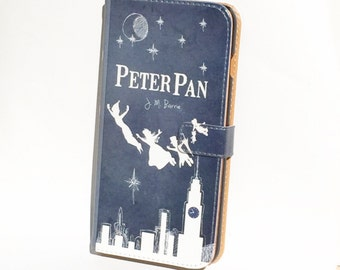 Book phone /iPhone flip Wallet case- Peter Pan for iPhone X, 8, 7, 6, 6 7 & 8 plus, 5 5s 5c, Samsung Galaxy S9 S8 S7 S6 Note 4 5 7, LG, Sony