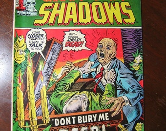 Old Comic Book, Crypt of Shadows number 6, Marvel Comics, 1970s, Vintage Comics, Collectible, Halloween, Crypts, Horror, What Evil Lurks?