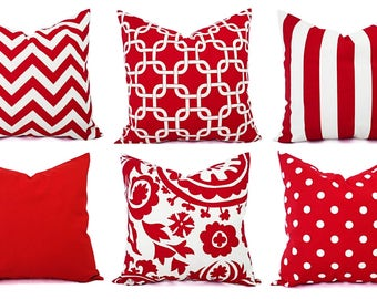 One Red Throw Pillow Cover - Red and White Pillow - Red Pillow Cover - Red Pillowcase - Red Accent Pillow - Red Pillows - Sham