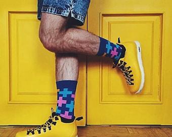 Cross Berries Dark Blue Socks,   Men's Socks in Yellow Pink Blue Colors,  Colorful Socks with Cross Pattern