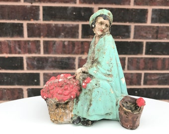 Antique Figurine - Woman With Roses - Shabby Chic Decor - Antique Decor - 1940s Figurine - Basket Of Roses - Sad Woman