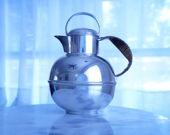 Attractive Tea Pot by Bernard Rice's Sons Inc -- Polished Silverplate Pitcher with Wrapped Handle -- Classy Holloware by Apollo