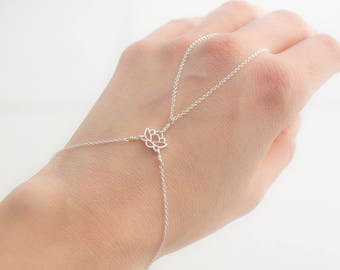Sterling Silver Lotus Hand chain