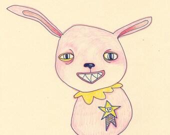 Winner. Creepiest Bunny Contest, v1. 8x10 original drawing